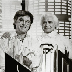 Richard Donner Marlon Brando on the set of Superman